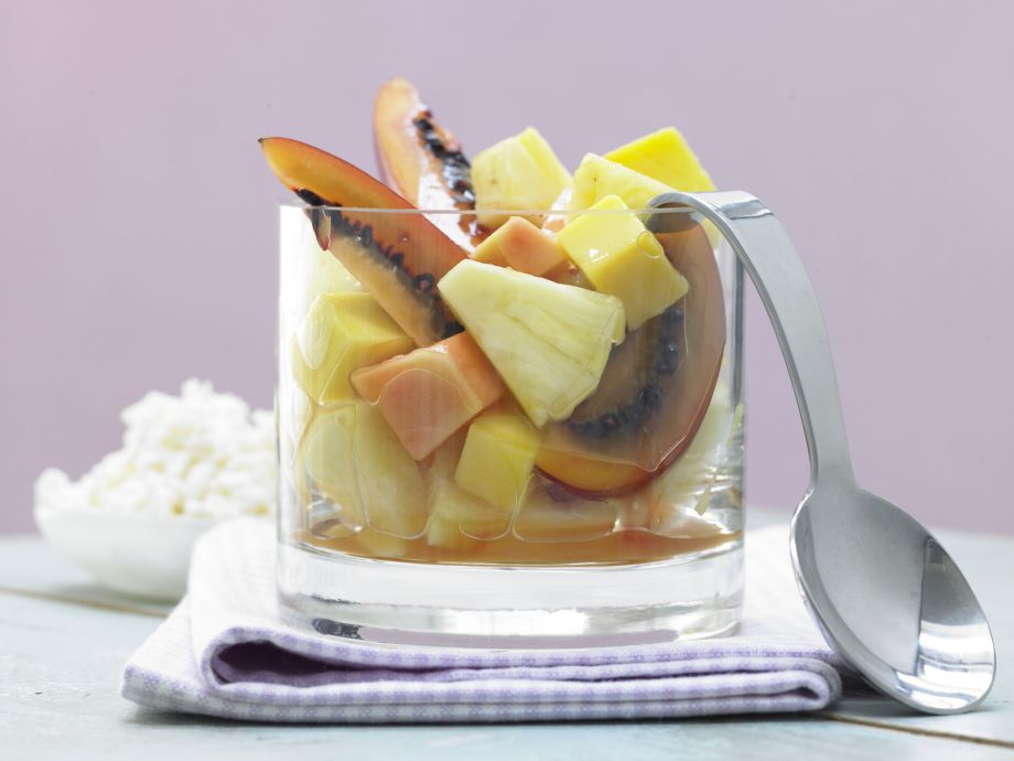 Exotic Fruit Salad - Exotic Fruit Salad - Ice cold for hot summer days: Exotic fruit salad with frozen Piña Colada