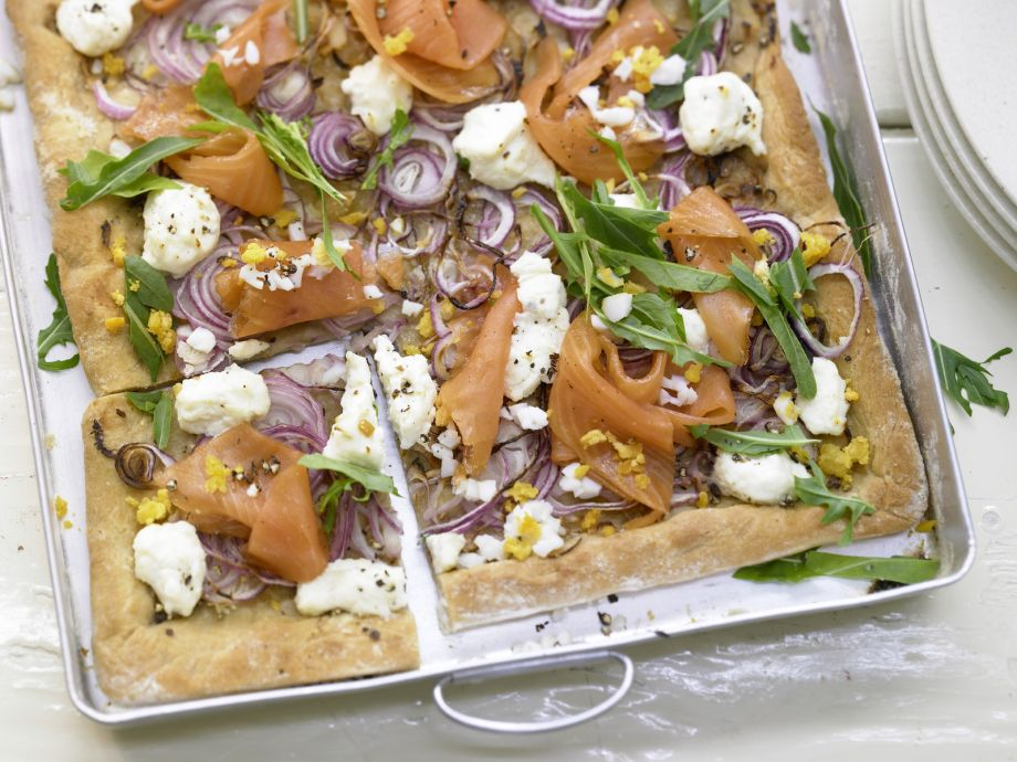 Pizza with Smoked Salmon - Pizza with Smoked Salmon - No tomato sauce, but just as delicious