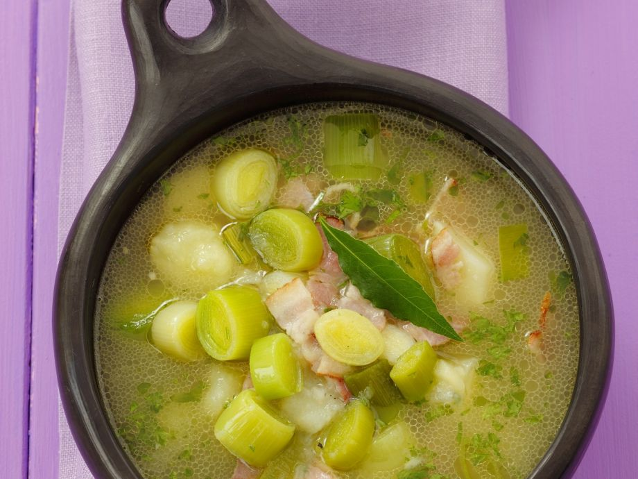 Potato and Leek Soup with Bacon