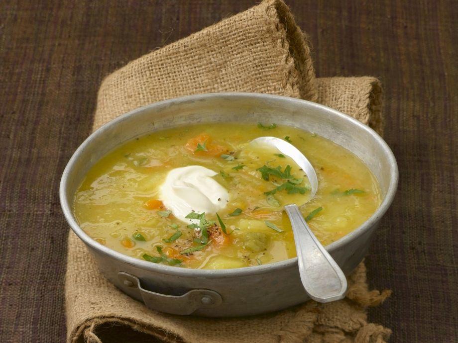 Potato Soup with Poached Egg