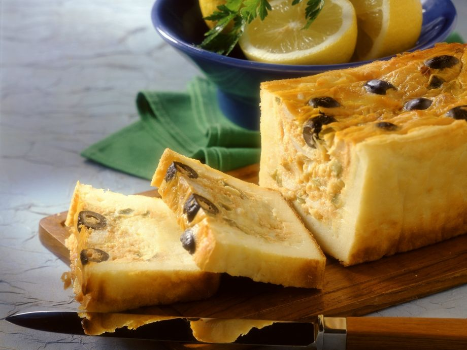 Potato terrine with cod and olives
