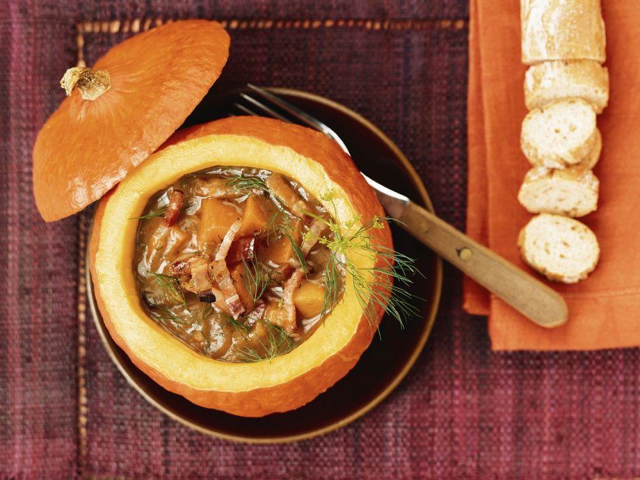 Pumpkin Stew in a Pumpkin Bowl