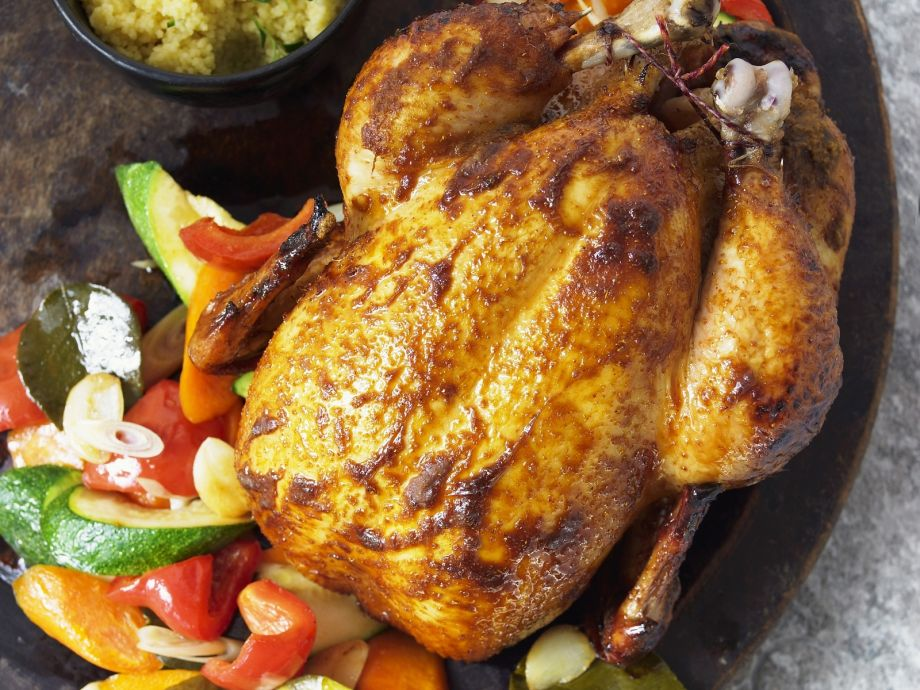 Roast Chicken with Summer Vegetables and Couscous