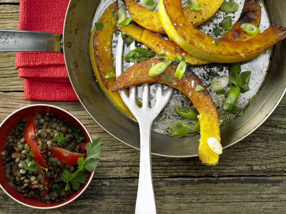 Roasted Pumpkin Wedges - Roasted Pumpkin Wedges - Combines all the colors of autumn on a plate