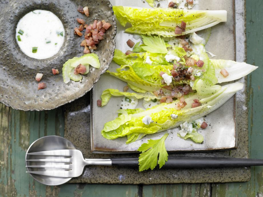Romaine Lettuce with Roquefort - Romaine Lettuce with Roquefort - Crisp salad with tangy cheese and hearty bacon - the perfect appetizer!