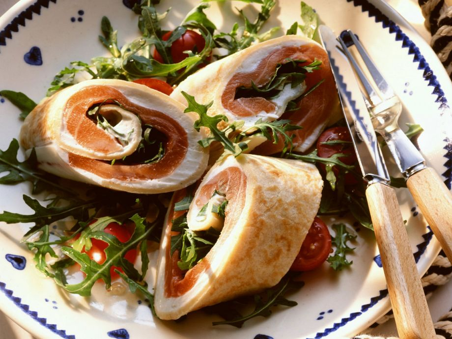 Salmon and cream cheese wraps with salad