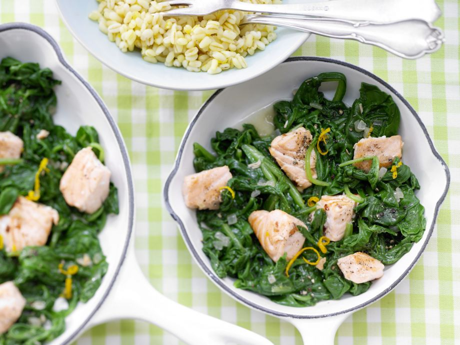 "Salmon and Spinach Skillet - Salmon and Spinach Skillet - ""Fast food"" at its best: Quick to make and healthy, too"
