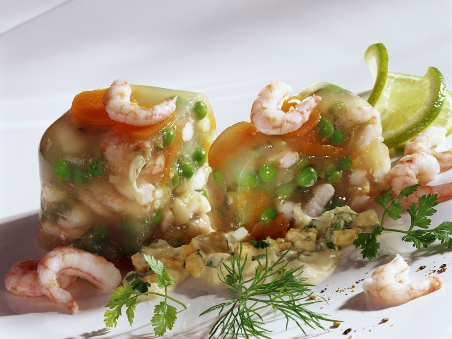 Savory shrimp aspic with egg salad