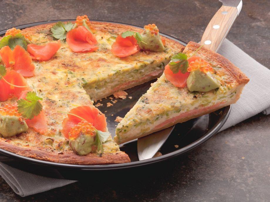 Sliced of salmon tart