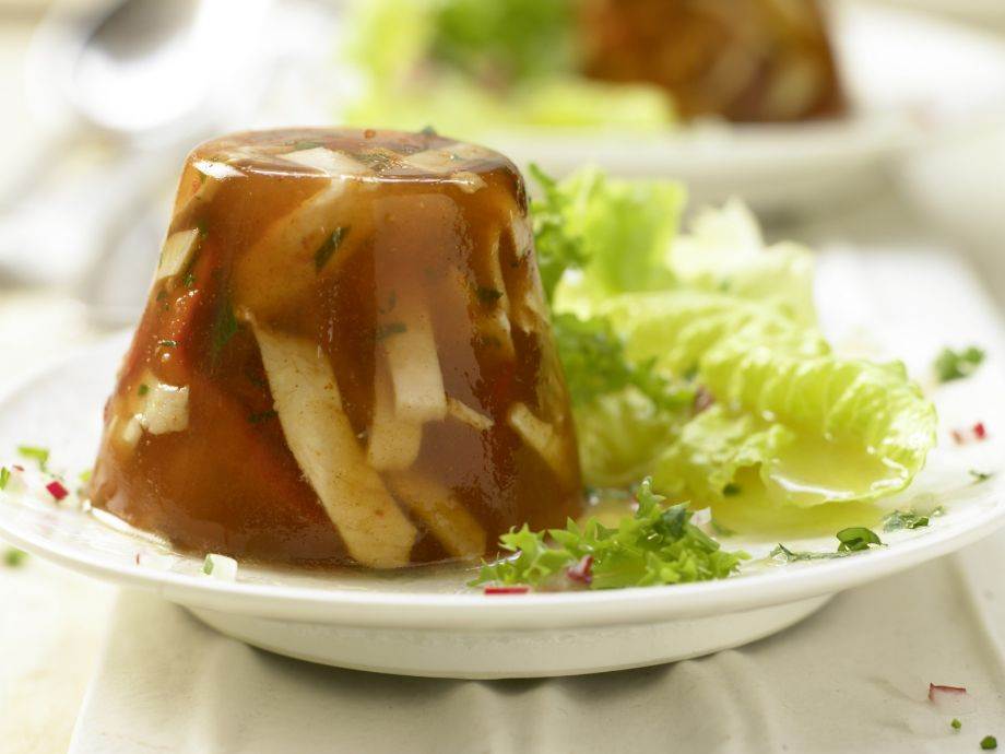 Spicy Chicken in Tomato Aspic - Spicy Chicken in Tomato Aspic - Aspic is a popular appetizer - with lots of choices for additions