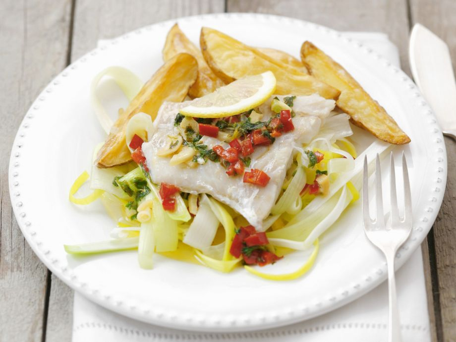 Steamed Cod Fillets - Steamed Cod Fillets - The delicate fish forms a great contrast to the crispy potato wedges