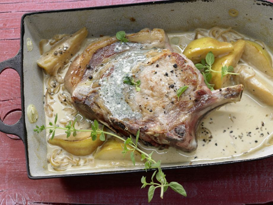 Stuffed Veal Chops - Stuffed Veal Chops - The pear and onion sauce goes perfectly with the blue cheese in the stuffing