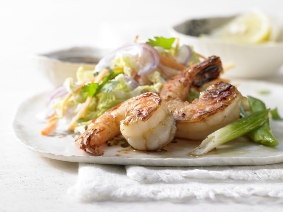 Sweet and Spicy Glazed Shrimp - Sweet and Spicy Glazed Shrimp - An Asian dish with a crunchy kick: Spicy shrimp on a bed of crisp, raw cabbage