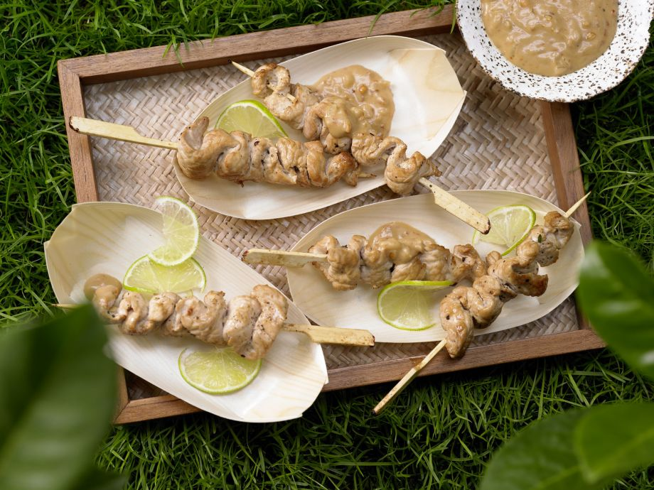 Thai Turkey Skewers - Thai Turkey Skewers - Tender morsels in a creamy sauce for Far Easter flavors hot off the grill