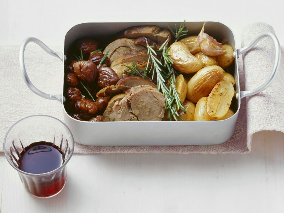 Tray of roast game meat