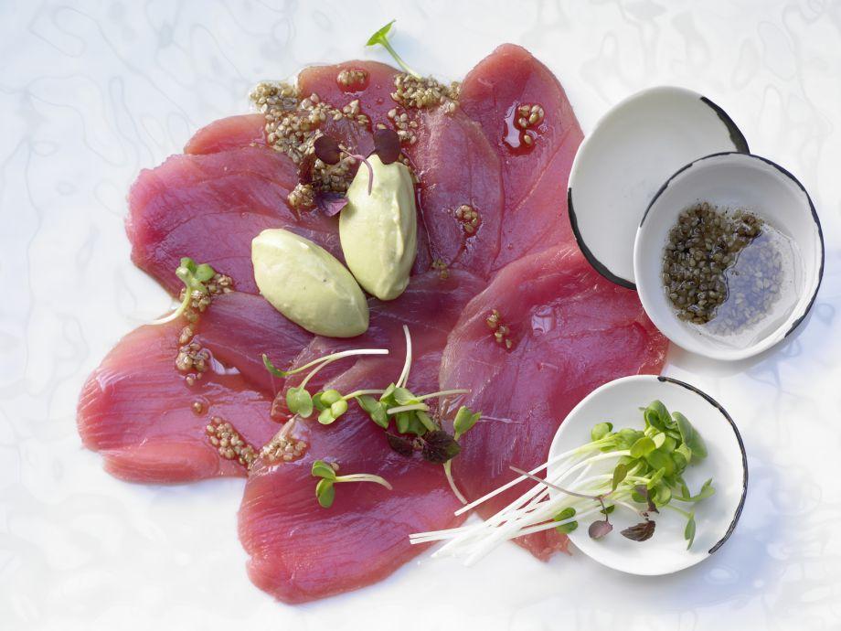 Tuna Carpaccio - Tuna Carpaccio - A light, healthy appetizer with the feel of fine Asian cuisine