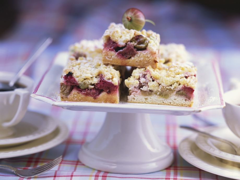 Two fruit crumble squares