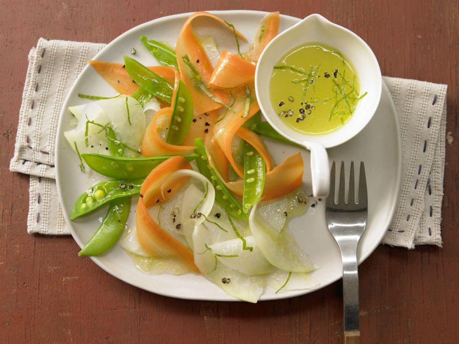 Vegetable Carpaccio - Vegetable Carpaccio - Delicate spring vegetables with aromatic citrus olive oil dressing
