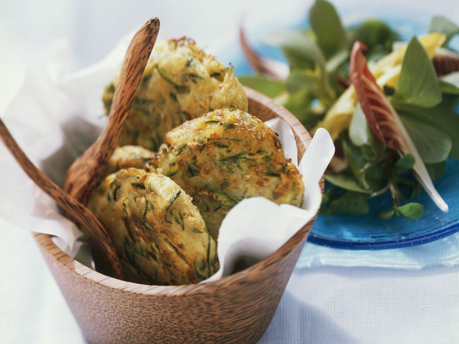 Veggie cakes with leaves