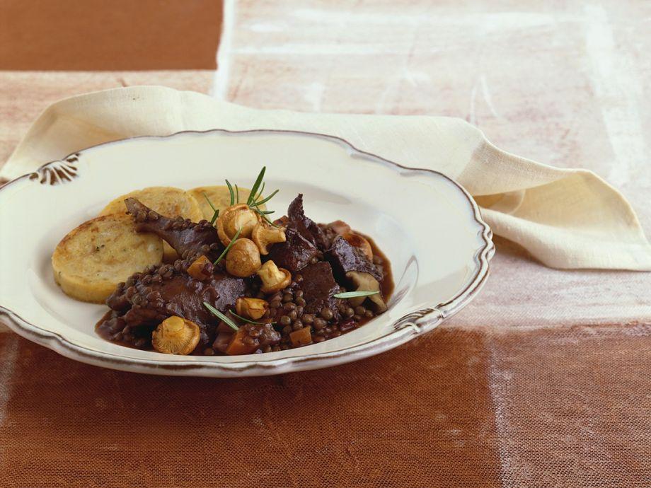 Venison and red lentil casserole