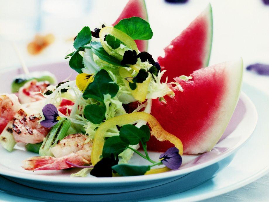 Melon wedge and prawn salad