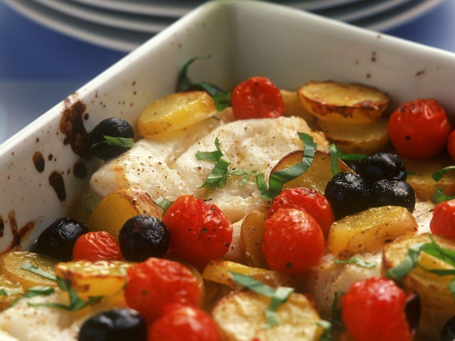 White Fish Bake with Olives