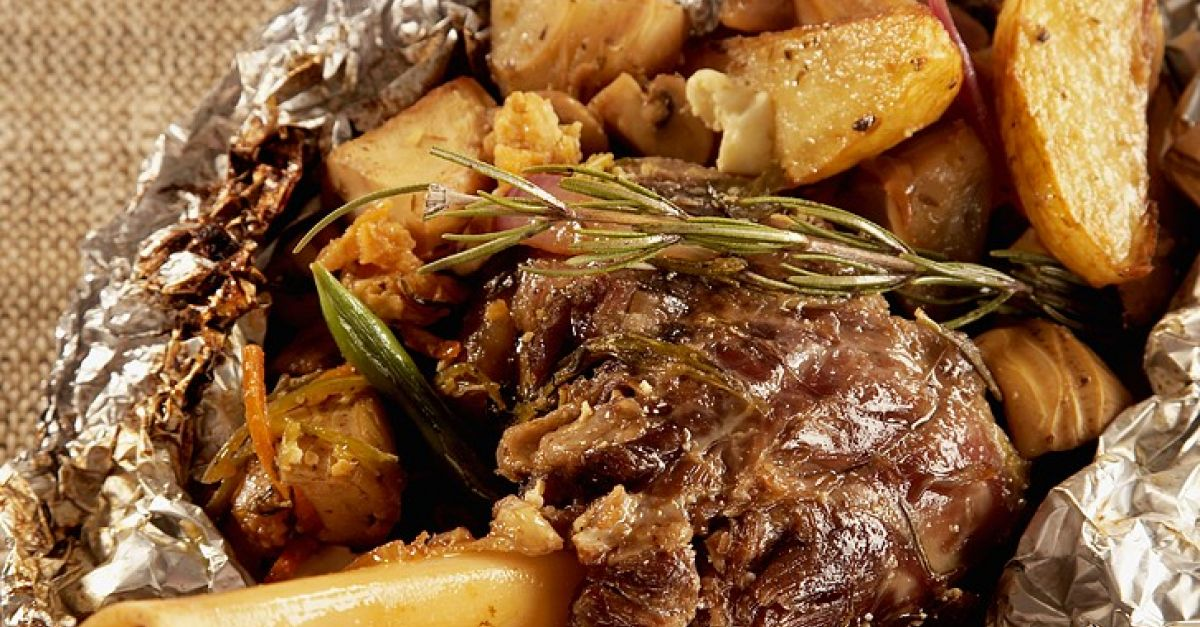 Greek Roasted Lamb Shank with Vegetables in Foil recipe ...
