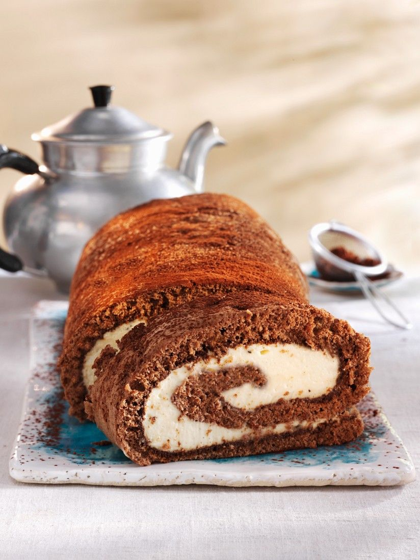 Chocolate Sponge Cake Roll with Mascarpone Cream Filling recipe ...