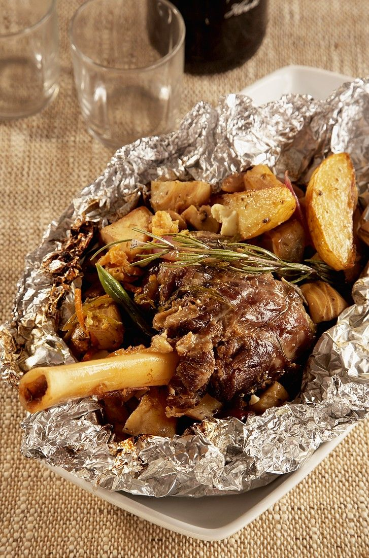 Greek Roasted Lamb Shank with Vegetables in Foil recipe | Eat ... for Roasted Lamb Shank  279cpg