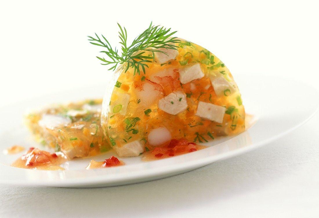 Seafood aspic with tomato chili sauce