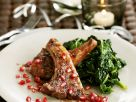 Baby Lamb Loin Chops with Spinach and Pomegranate Seeds recipe