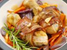 Bacon-Wrapped Chicken Drumsticks on Vegetables recipe