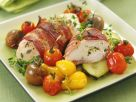Bacon-Wrapped Chicken with Tomatoes and Zucchini recipe