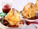 Baked Apples with Marzipan and Cherry Sauce recipe