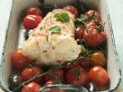 Baked Monkfish with Cherry Tomatoes and Olives recipe
