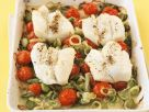 Baked Sea Bass with Tomatoes and Leeks recipe
