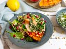 Baked Sweet Potato with Quinoa Salad and Salmon recipe