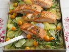 Baked Vegetables with Salmon recipe