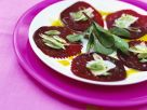 Beet Carpaccio with Pistachio Oil and Manchego Cheese recipe