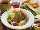Braised Beef with Mixed Vegetables and Beet Sauce recipe