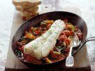Braised Monkfish on Tomato Olive Vegetable recipe