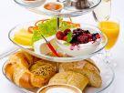 Breakfast Tier with Eggs, Yogurt, Bread and Coffee recipe