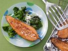 Broiled Sweet Potatoes with Spinach Salad recipe