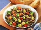 Brussels Sprouts and Beef with Garlic Bread recipe