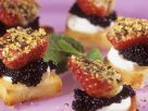 Canapes with Caviar and Peppered Strawberries recipe