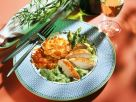 Chicken with Asparagus Puree and Potato Pancakes recipe