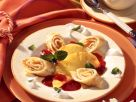Coconut Crepe Rolls with Pineapple and Raspberry Puree recipe