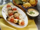 Cod Skewers with Rice and Pepper Sauce recipe