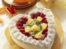 Cream Heart Cake with Fruit recipe