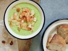 Creamy Broccoli Soup with Shrimp and Almonds recipe